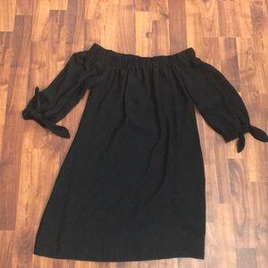 Shoulder less black dress